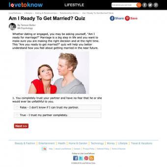 Screenshot of lovetoknow.com quiz