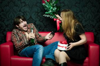 Young couple quarreling on St. Valentine Day