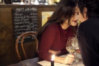 Young couple having a romantic moment at a restaurant