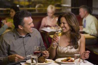 Hispanic couple enjoying a dinner date