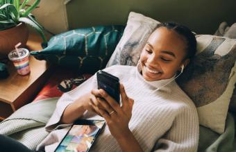 Teen girl texting her boyfriend