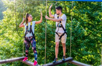 couple in the adventure park