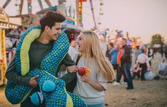 couple on a date at the local fair