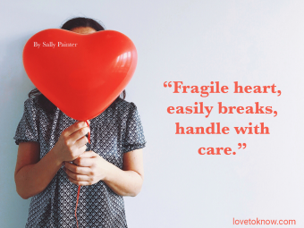 Broken Relationship Quote With Girl Holding a Heart Ballon