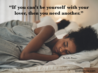 Sad Quote About Relationships Ending With Sad Couple In Bed