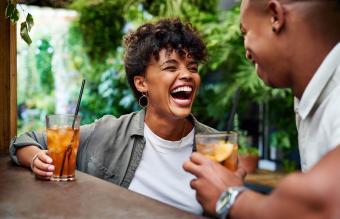 happy couple having drinks