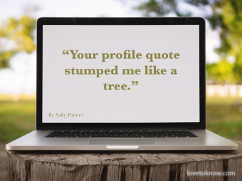 Ice-Breaker Online Dating Quote With Computer On A Tree Stump