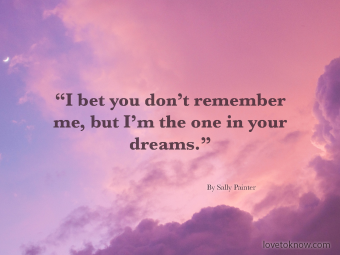 Funny Online Dating Quote Over Pink Clouds