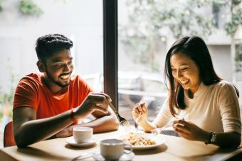 Young couple in first date