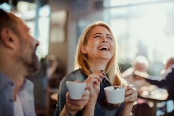 Couple in a Cafe having fun