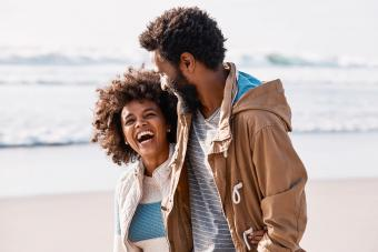 couple on a romantic walk