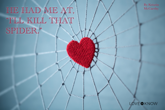 Red knitted heart in the center of the knitted web