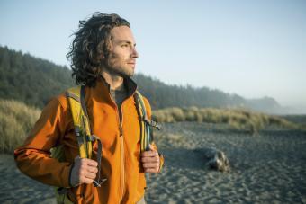 Man hiking near the ocean