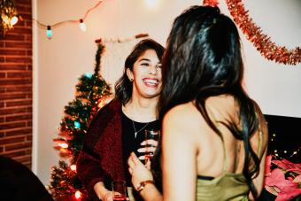 Laughing girls talking in a party