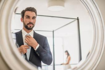 Narcissists man looking on the mirror