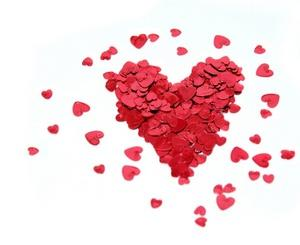 Heart made of pieces of heart confetti