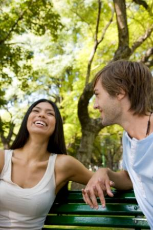 Happy couple at park
