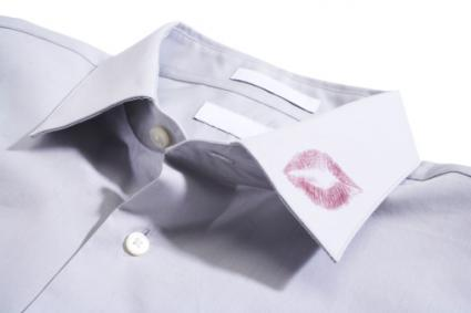 Shirt with lipstick on collar