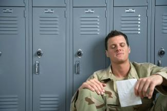 Soldier reading love letter
