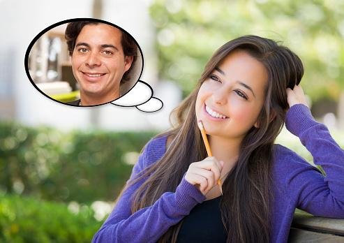 Woman with Young Man Thought Bubble
