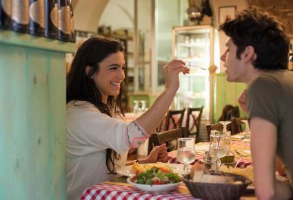 Couple eating together in restaurant