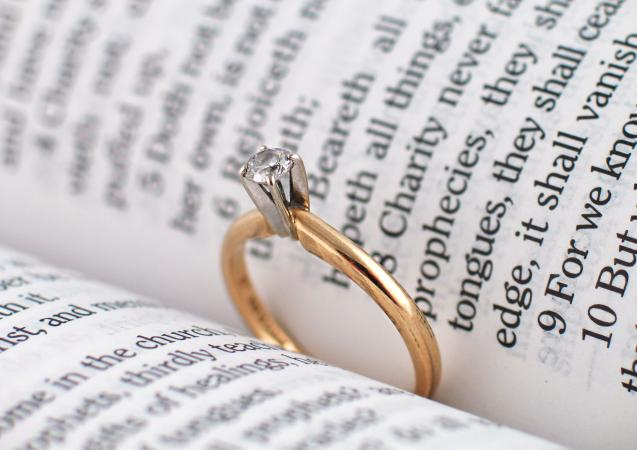 Ring sitting between bible pages