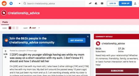 Screenshot of Reddit relationship advice page
