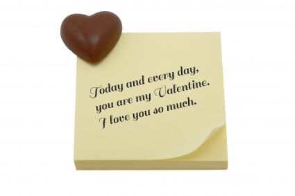 Love note and chocolate