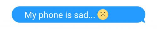 sad phone text bubble