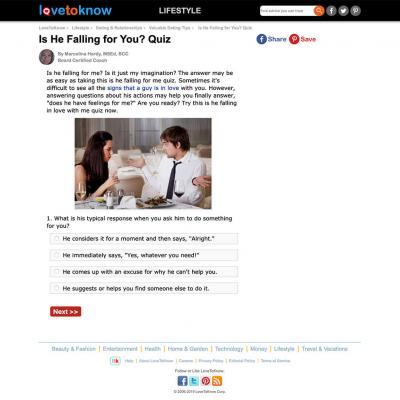 Screenshot of lovetoknow.com quiz