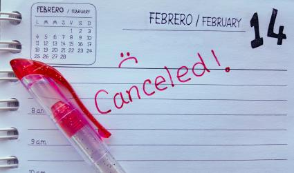 February 14th Valentines Day canceled