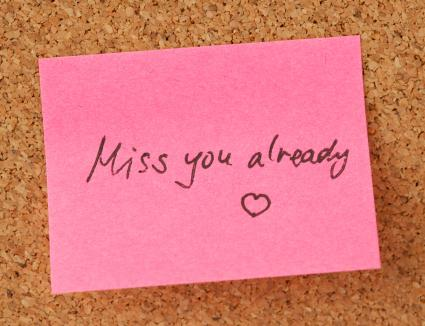 A love note on a pink sticky note