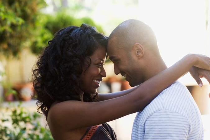 Couple in love embracing outdoors