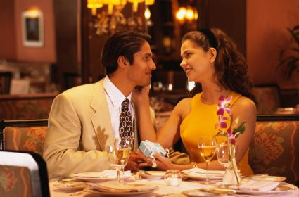 Couple in love at restaurant