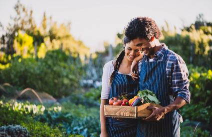 couple carrying a crate of vegetables