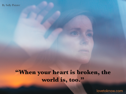 Broken Heart Quote with woman looking out the window