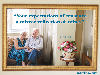 A Lover's Quote On Trust In A Relationship With a Loving Senior Couple