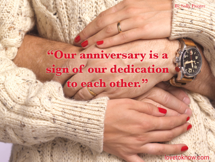 Happy Anniversary Quote For Her And a Couple In a Loving Embrace