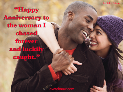 Romantic Anniversary Quote For Her And a Happy Couple Hugging
