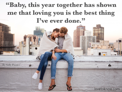 1 Year Anniversary Quote For Her and Couple Together On a Rooftop