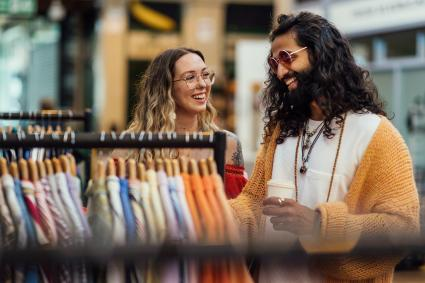 Hipster Couple Thrift Shopping