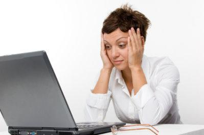 Woman frustrated on the computer