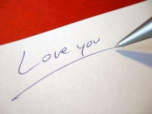 "Romantic ""love you"" message"