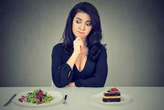 Choosing between salad and cake