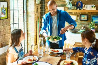 Family having nutritious lunch together