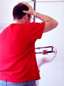 Man checks weight