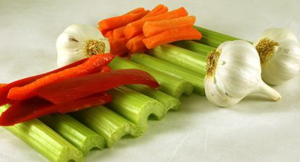 Celery, garlic, carrots and red peppers