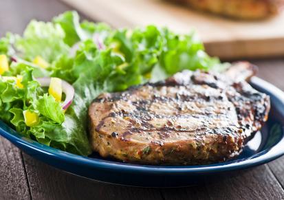 Pork chop and salad