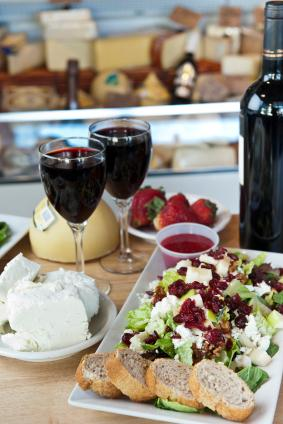 Feta Cheese, Walnut Salad, Red Wine