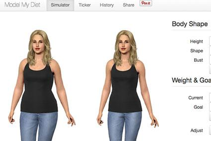 Screenshot of Modelmydiet.com Simulator